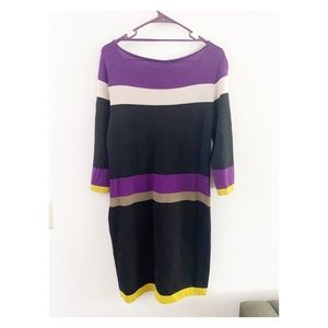 Jones Wear Colorblock Striped Sweater Dress Small